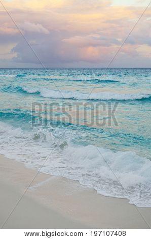 Seascape at pinkish sunset - natural background
