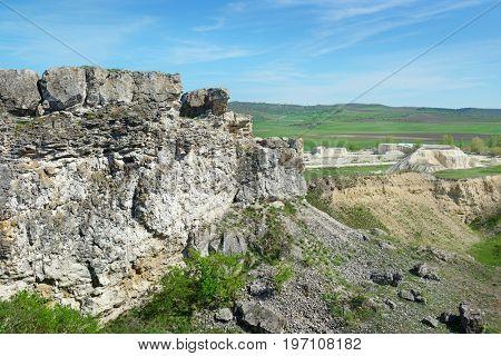 Abandoned quarry for limestone mining. Destruction of nature.