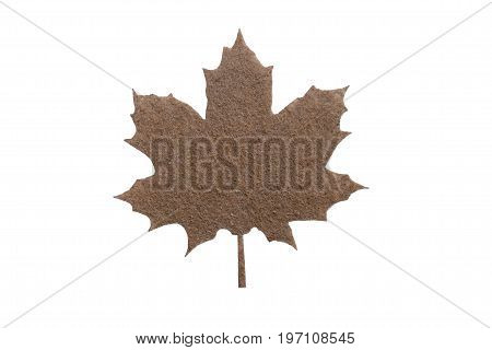 decorative insulated maple leaf close-up for set or mounting top view. flat
