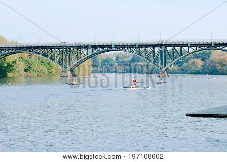 Schuylkill River Regatta competition in Pennsylvania Strawberry Mansion Bridge