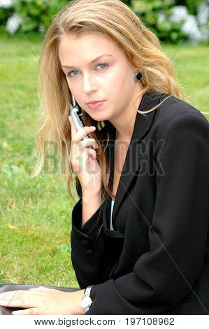 Female beauty blond beauty fashion model expressions outside.
