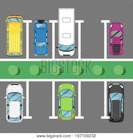 Parking lot poster top view cars. Urban traffic concept, parking zone, outdoor auto park, free public parking, city transport services. Highway code banner vector illustration.