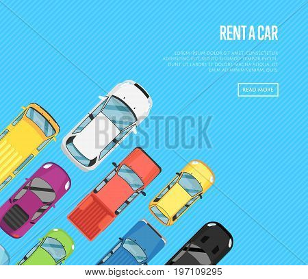Rent a car poster with top view city cars. Auto business advertising, test drive concept, automobile selling, leasing or renting car banner. Transport service, online pre order car vector illustration
