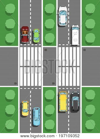Highway traffic in rush hour poster in flat style. Urban heavy traffic concept, top view cars on road intersection, automobile congestion, city transport services vector illustration.