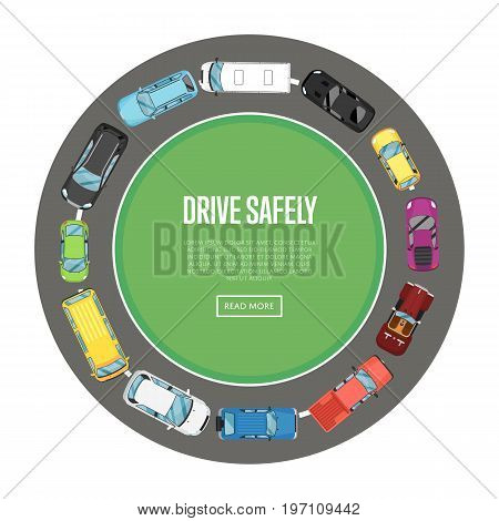 Drive safely poster in flat style. Urban heavy traffic concept with top view cars on road, automobile roundabout, city transport services. Highway code banner vector illustration.