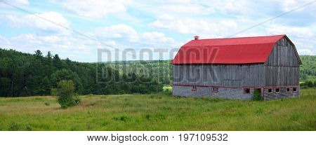 red barn country farm landscape rural agriculture summer nature