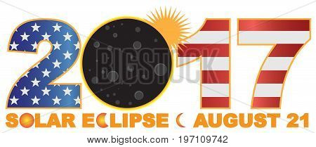 2017 Solar Eclipse Totality across America numeral USA Flag and text color vector illustration