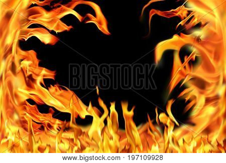 Close up fire flames isolated on black background