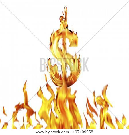 Conceptual image of burning dollar sign isolated on white