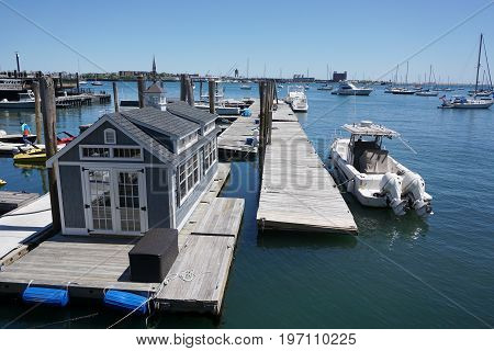 close up on yacht harbor in Boston bay