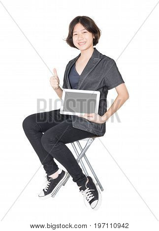 Women Sit On Chair With Using Mobile Phone