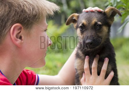 Young dog and boy teenager close-up outdoors