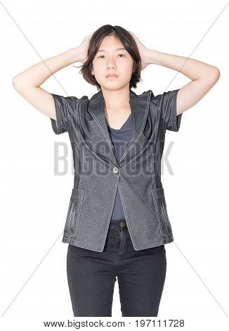 Close Up Young Woman Short Hair With Shirt