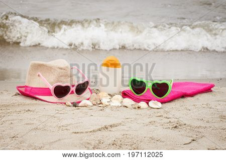 Accessories For Vacation And Seashells On Sand At Beach, Summer Time Concept
