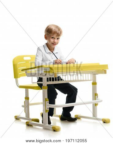 Portrait of happy smiling schoolboy sitting at desk and writing
