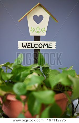 Welcom home sign on blue background. Bird house with welcom word