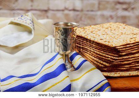 Wine And Matzoh Jewish Passover Bread Matzo