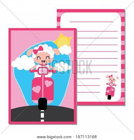 Cute paper note with cute sheep girl on motorcycle vector cartoon illustration for kid paper, scrap book and postcard design