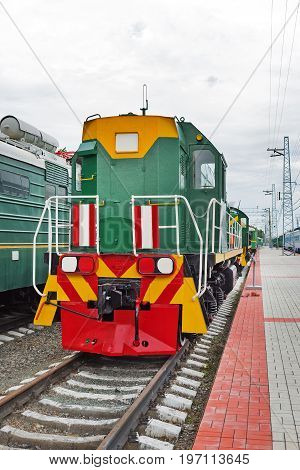 Novosibirsk Museum of railway equipment in Novosibirsk Siberia Russia - July 7 2017: the Locomotive shunting ТЭМ15 No. 016. Built in 1988 and production Association