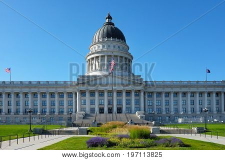 SALT LAKE CITY, UTAH - JUNE 28, 2017: Utah State Capitol building south side. In 1888, the city donated the land, called Arsenal Hill, to the Utah Territory for the construction of a capitol building.