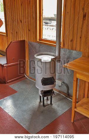 Novosibirsk Museum of railway equipment in Novosibirsk Siberia Russia - July 7 2017: the interior of an old passenger rail car furnace heating