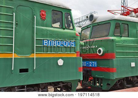 Novosibirsk Museum of railway equipment in Novosibirsk Siberia Russia - July 7 2017: two-section mainline Freight electric locomotive VL80 ( Vladimir Lenin ). Built by the Novocherkassk electric locomotive plant in 1980