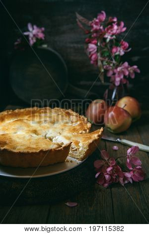 Homemade creamy apple pie on wooden table. Tsvetaeva apple pie. Russian cuisine. Toning rustic stile.