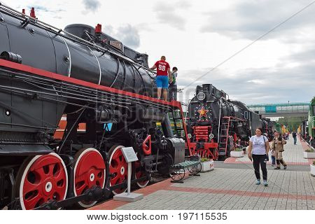 Novosibirsk Museum of railway equipment in Novosibirsk Siberia Russia - July 7 2017: the Soviet mainline freight steam locomotive L series . Built by the Voroshilovgrad factory name the October revolution in 1954