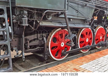 Novosibirsk Museum of railway equipment in Novosibirsk Siberia Russia - July 7 2017: the Rocker mechanism of the Soviet mainline freight locomotive L