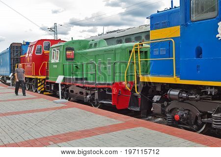 Novosibirsk Museum of railway equipment in Novosibirsk Siberia Russia - July 7 2017: the Old trains worked during the Soviet era