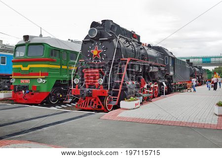 Novosibirsk Museum of railway equipment in Novosibirsk Siberia Russia - July 7 2017: the Old railway technician who worked during the Soviet era