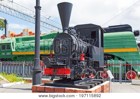 Novosibirsk Museum of railway equipment in Novosibirsk Siberia Russia - July 3 2017: the tank - engine of the German firm Borsig ( 19th century )