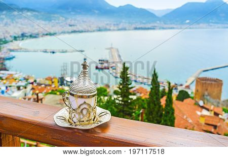 Ottoman Coffee Cup With Alanya On Background