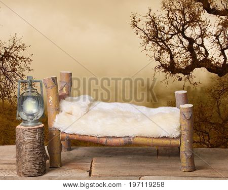 A backdrop for a newborn baby in a wooden camping background with a railroad lantern, oak trees and fog in the background on a wooden floor.
