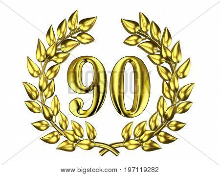 Illustration for the anniversary celebration - Golden figure of 90 (ninety) in a gold wreath isolated on a white background