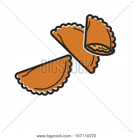 Vector illustration of fried dumplings with stuffing isolated on white.