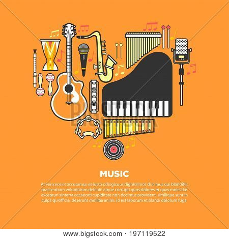 Music article on orange banner with musical instruments formed in heart vector illustrations. Authentic percussion, melodic keyboards, wind instruments, acoustic guitar, modern and retro microphones.
