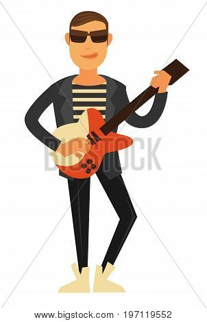 Rock singer in sunglasses, striped T-shirt, stylish white sneakers leather jacket and skinny pants with electric guitar isolated cartoon vector illustration. Modern performer of instrumental music.