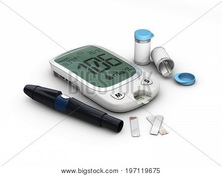 Blood Glucose Meter Glucometer, Diabetes Blood Glucose Test. 3D Illustration