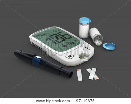 Home Glucometer With Hand. Concept Of Pharmacy, 3D Illustration