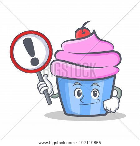 Bring sign cupcake character cartoon style vector illustration