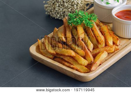 Homemade french fries serve with ketchup and sour cream or mayonnaise. Golden brown crispy french fries sprinkle with salt and oregano on plate for snack or appetizer. French fries on granite table.