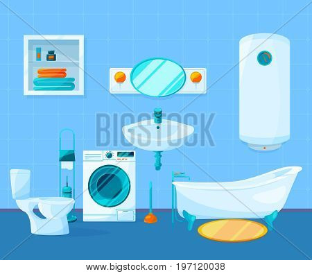 Modern clean interior of bathroom. Vector pictures in cartoon style. Interior of bathroom with ceramic tile, washbowl and bathtub illustration
