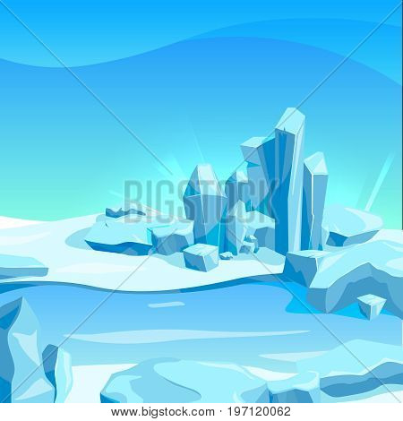 Frozen landscape with ice rocks. Cartoon background vector illustration. Frozen nature rock, cartoon winter ice landscape