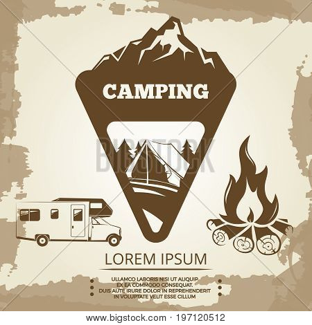 Camping label, bonfire and travel bus on vintage backdrop. Vector illustration