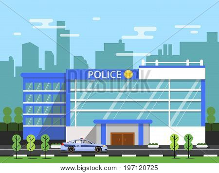 Police or security department. Exterior of municipal building. Vector illustration in flat style police department building
