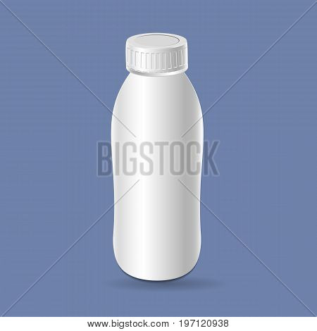 Plastic template milk bottle yogurt. Blank packaging isolated on background. Package template. Realistic 3d mockup.
