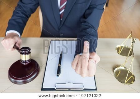 Fuck You Hand Of Lawyer On Justice Concept
