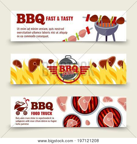 BBQ and steak horizontal banners template. Set of bbq cards. Vector illustration