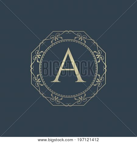 Luxury logo. Calligraphic pattern elegant decor elements. Vintage vector ornament Signs and Symbols. The Letters A. luxury logo template. EPS8,EPS10